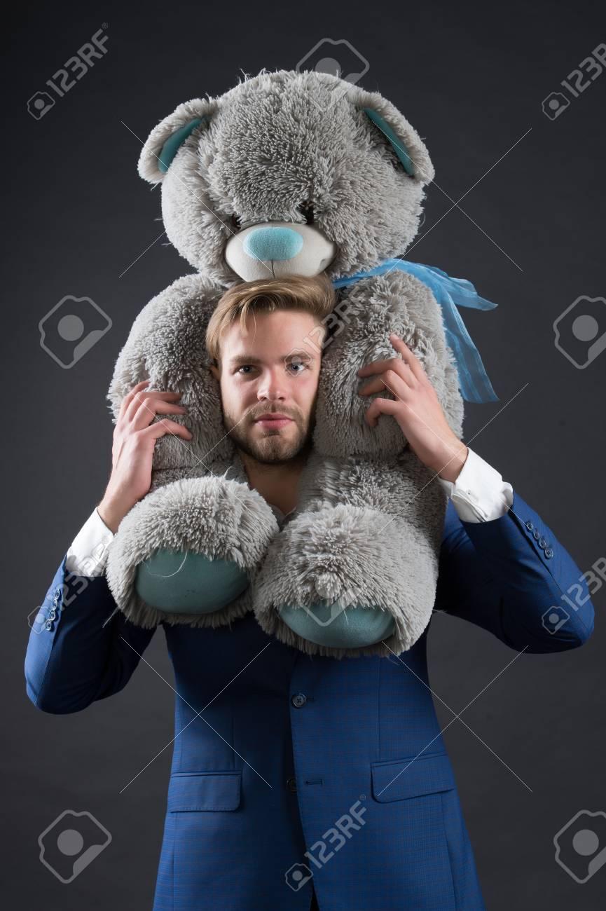 Bearded Man With Grey Teddy Bear Businessman Hold Big Animal Toy Fashion Manager