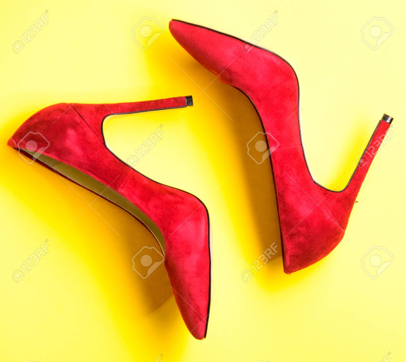 7c59d091470 Footwear with thin high heels, stiletto shoes, top view. Shoes..