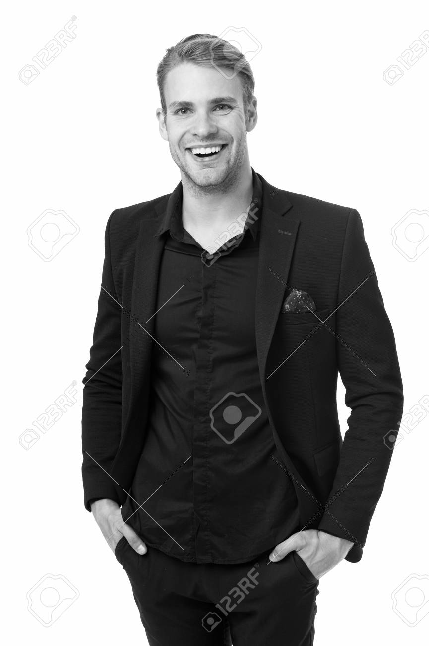 9b8bac77caf Business dress code. Man happy formal black suit white background. Business  casual. Casual