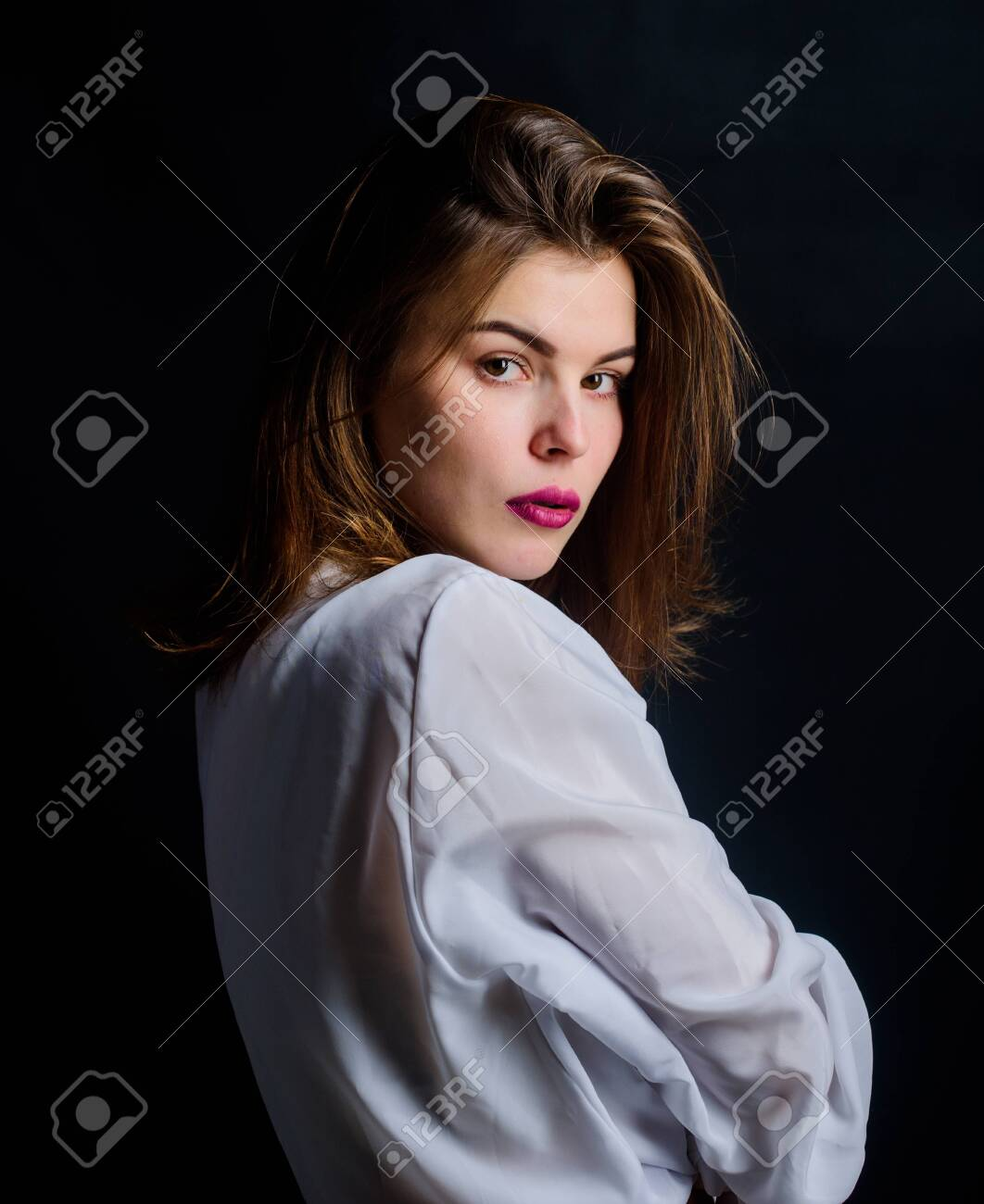 Beauty salon. fashion and beauty concept. youth attractiveness. pure beauty. woman with short stylish hair. girl pink lips. makeup cosmetics for female. pretty woman isolated black background - 134387385