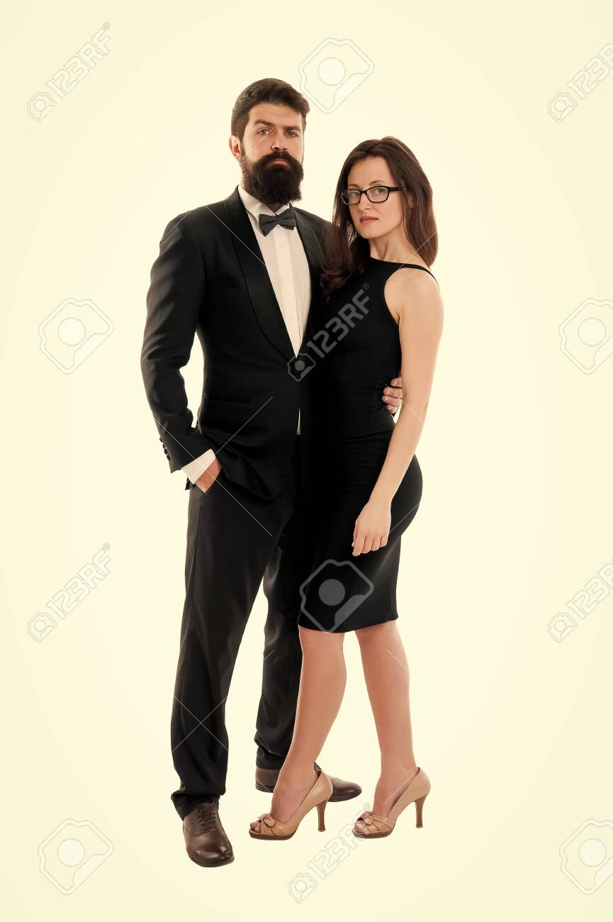 Woman elegant lady and bearded gentleman black tuxedo with bow tie. Formal event. Dress code rules. Party ceremony conference. Dress code concept. Couple get ready for party. Official dress code - 134524840