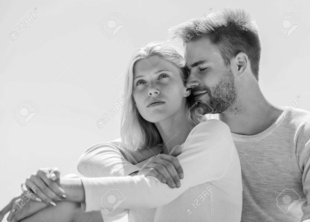Being in love. understanding and support. romantic relationship. couple in love. married in heaven. man and girl smiling. he make her happy. happy to be together. they love each other - 142161751