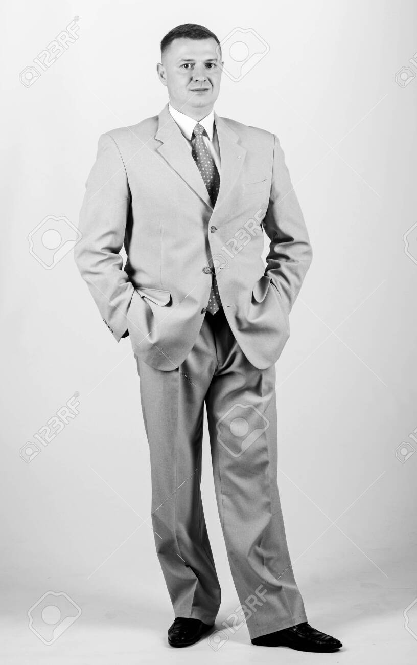 Wedding fashion. Man well groomed elegant caucasian appearance wear formal clothes. Male fashion store. Businessman concept. Formal style clothing. Corporate and formal. Boss head of department - 142806178