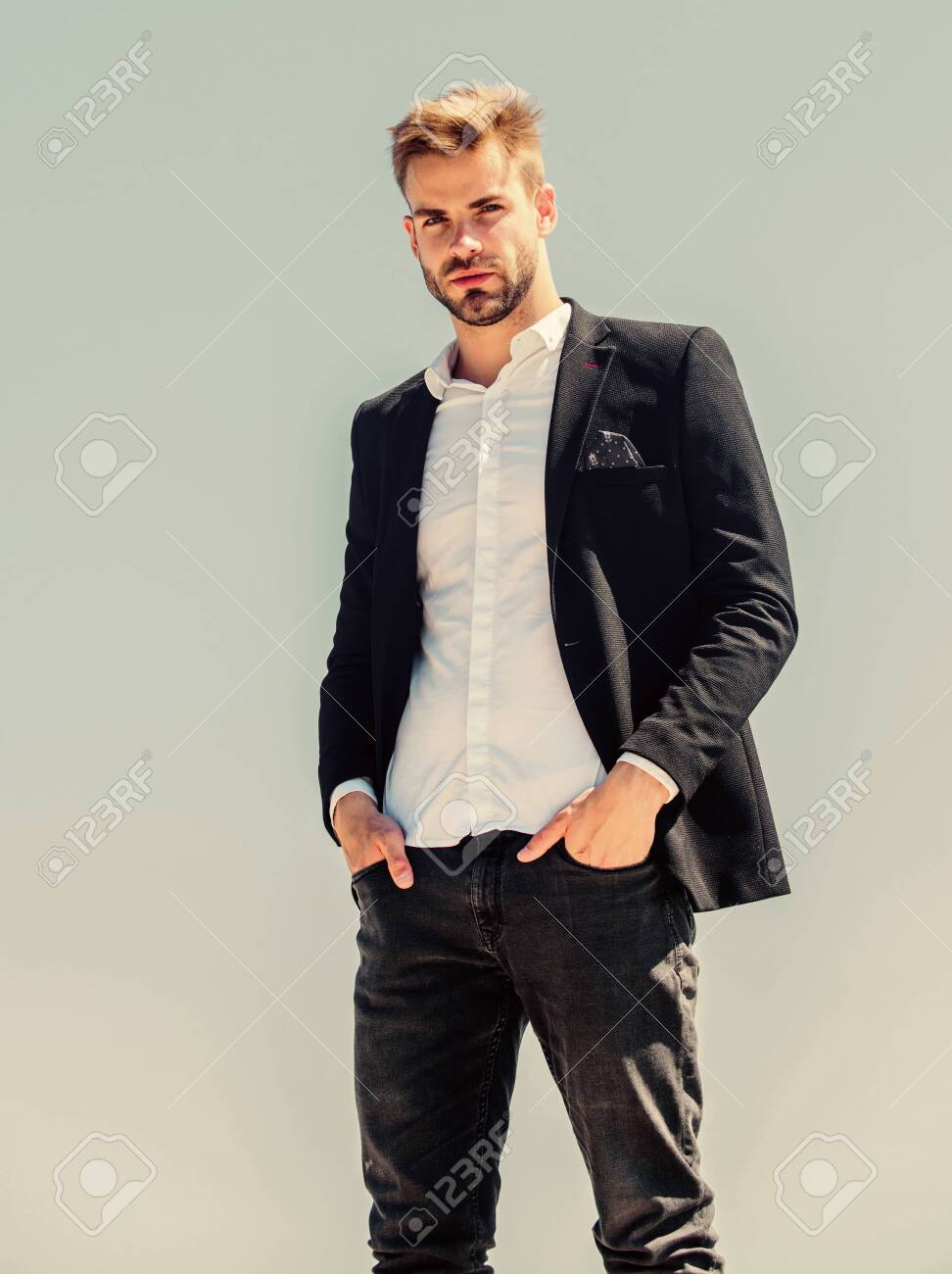 Bearded guy business style. macho man. male grooming. formal male fashion. modern lifestyle. confident businessman. Handsome man fashion model. success concept. Sky background. agile business - 150331141