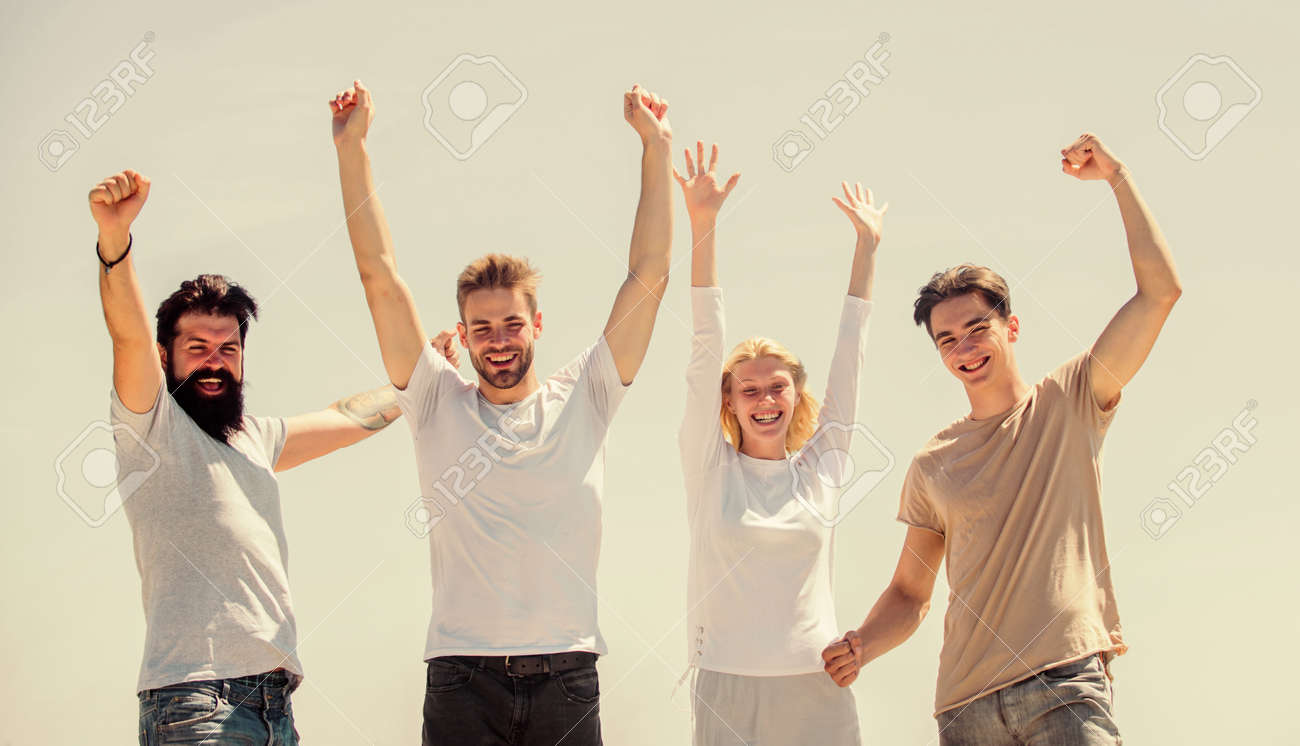 Success and achievement. Cheerful people communicating. Networking concept. Men woman communicating sky background. Communicative skills. Human communication. Freedom concept. Young and free - 153978550
