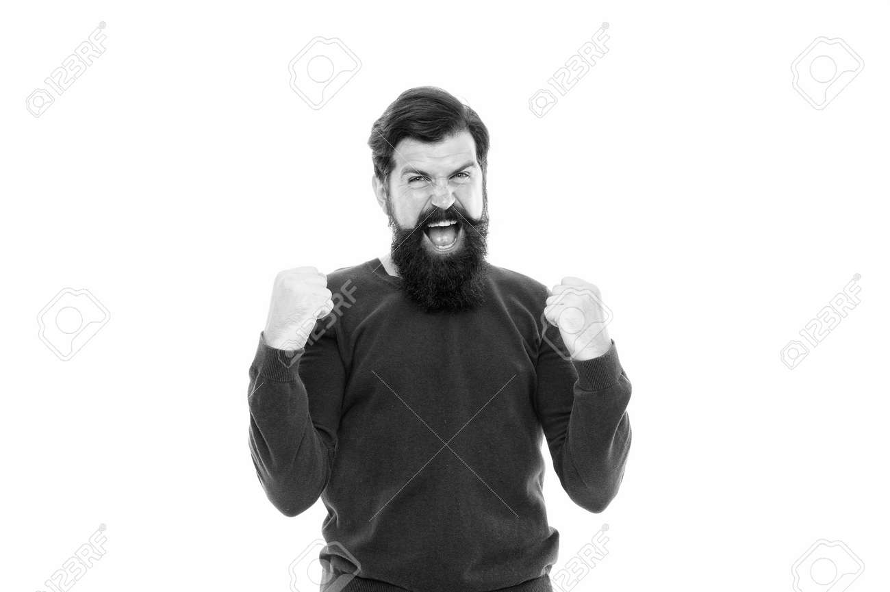 This is a real victory. emotional bearded man feel success. male after barbershop. excited hipster with beard. hair fashion and beauty. brutal mature man expressing happiness. human facial emotions - 154741671