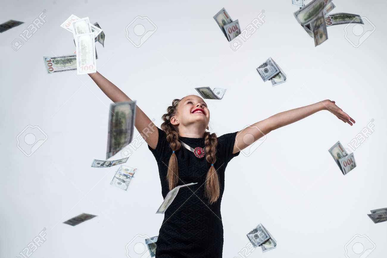 Swim in money. luxury and success. child winning the lottery. rich people. saving money for future. teen girl with money in suitcase. retro business. happy childhood. kid has dollar cash - 158032473