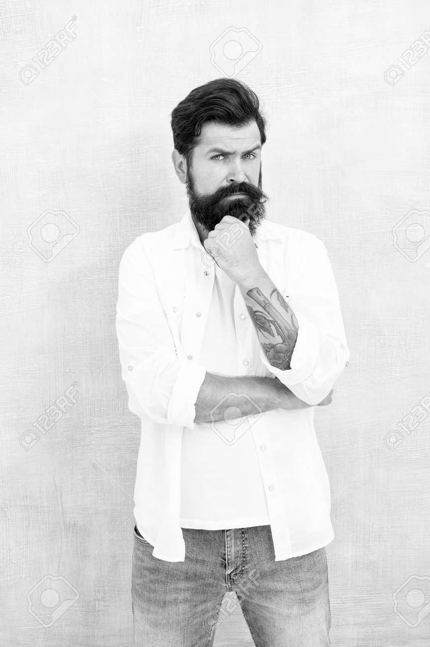 Brutal macho gray background. Casual style daily life. bearded man radiate masculinity. physical attractiveness. handsome hipster relax. male fashion trends. summer collection. Simple and casual - 159282245