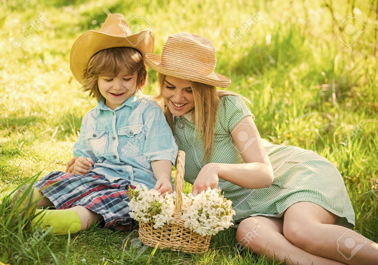Mother and cute son having fun. Spring holiday - 168405364