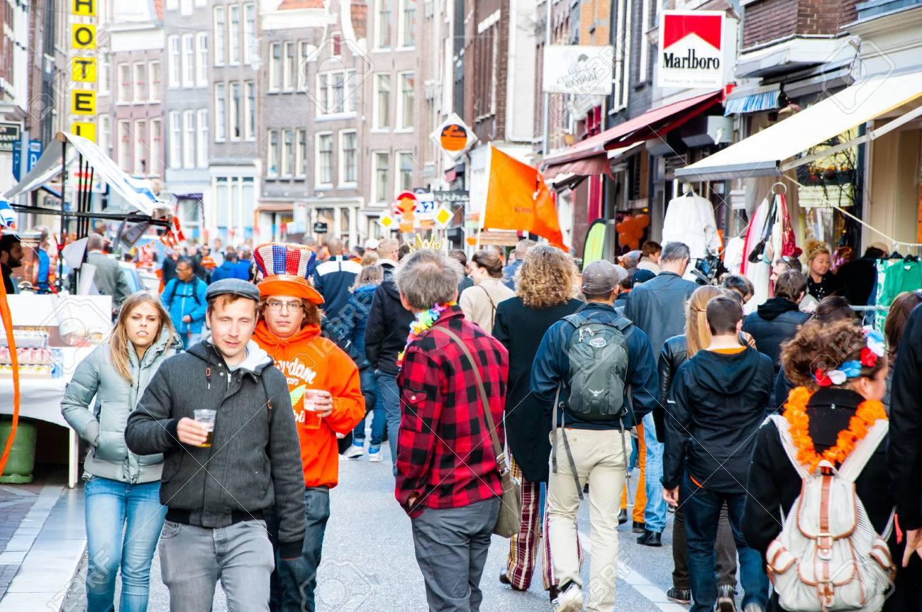 AMSTERDAMNETHERLANDS Busy street on King39s Day on April 272 015 in  Amsterdam Netherlands Koningsdag  AMSTERDAMNETHERLANDS. All The King39s