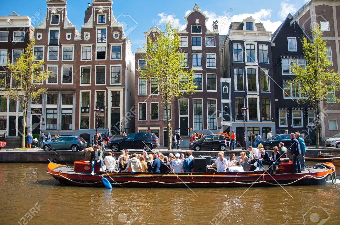 AMSTERDAM NETHERLANDS APRIL 27  Party Boat with unlimited beer soda and  wine aboard on King39s. AMSTERDAM NETHERLANDS APRIL 27  Party Boat With Unlimited Beer