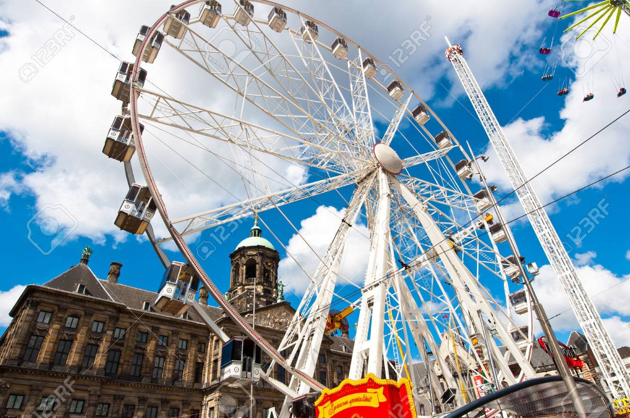 AMSTERDAM APRIL 27 Big wheel on Dam Square during King39s Day on April 272  015. All The King39s