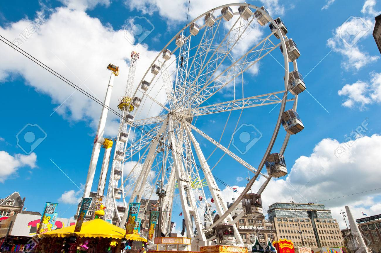 AMSTERDAM APRIL 27 Big wheel on Dam Square on King39s Day on April 272 015. All The King39s