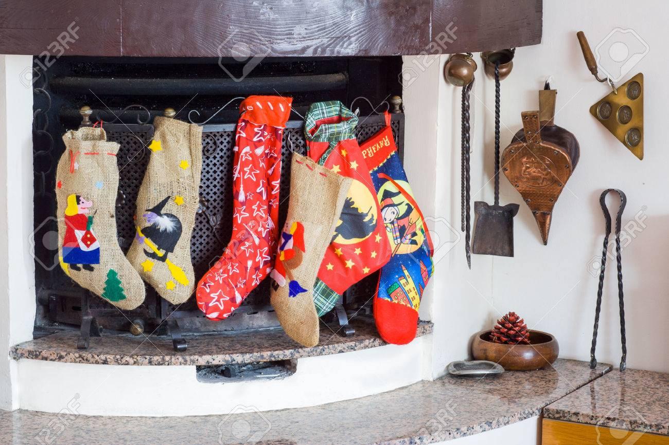 Chimney With Epiphany Socks During Christmas Holidays Stock Photo