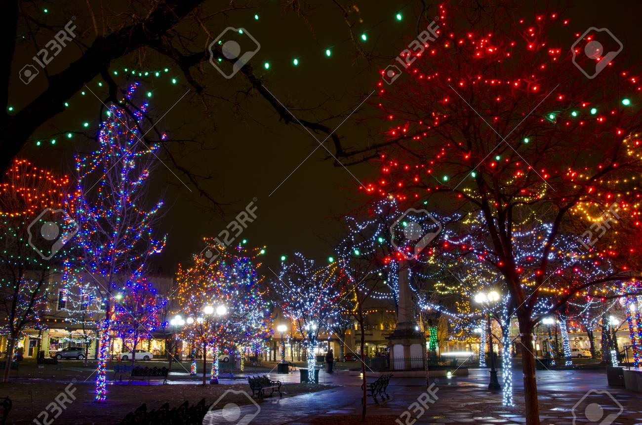 The Plaza In Santa Fe Is Decorated With Thousands Of Christmas Stock Photo Picture And Royalty Free Image Image 98375731