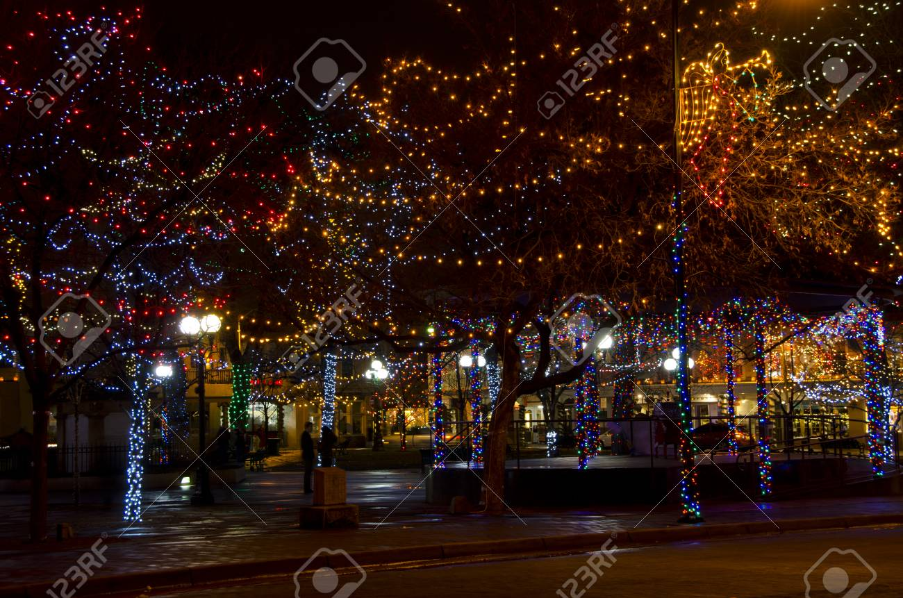 The Plaza In Santa Fe Is Decorated With Thousands Of Christmas Stock Photo Picture And Royalty Free Image Image 98387713
