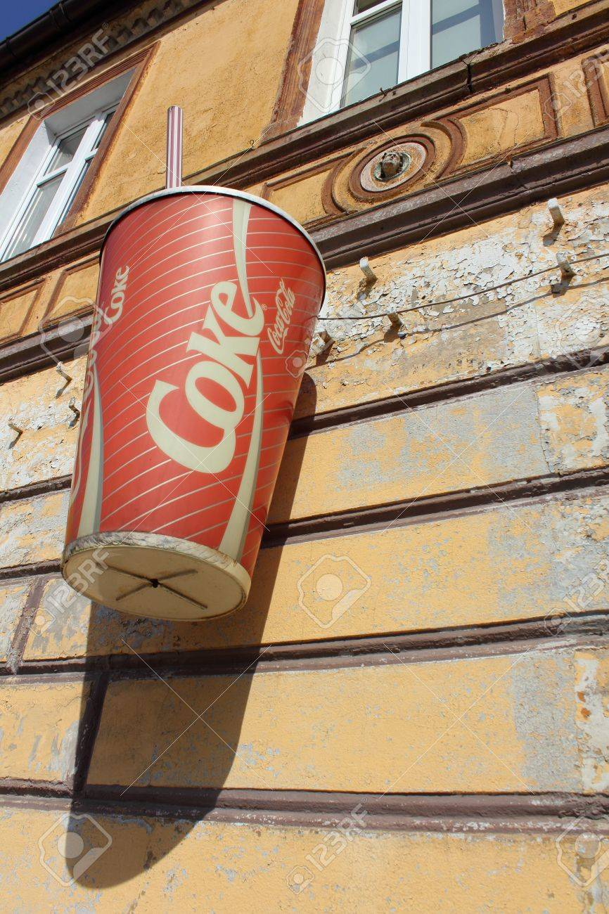 Czluchow, Poland, September 3 2011 - Old Coca Cola Ad on ruined