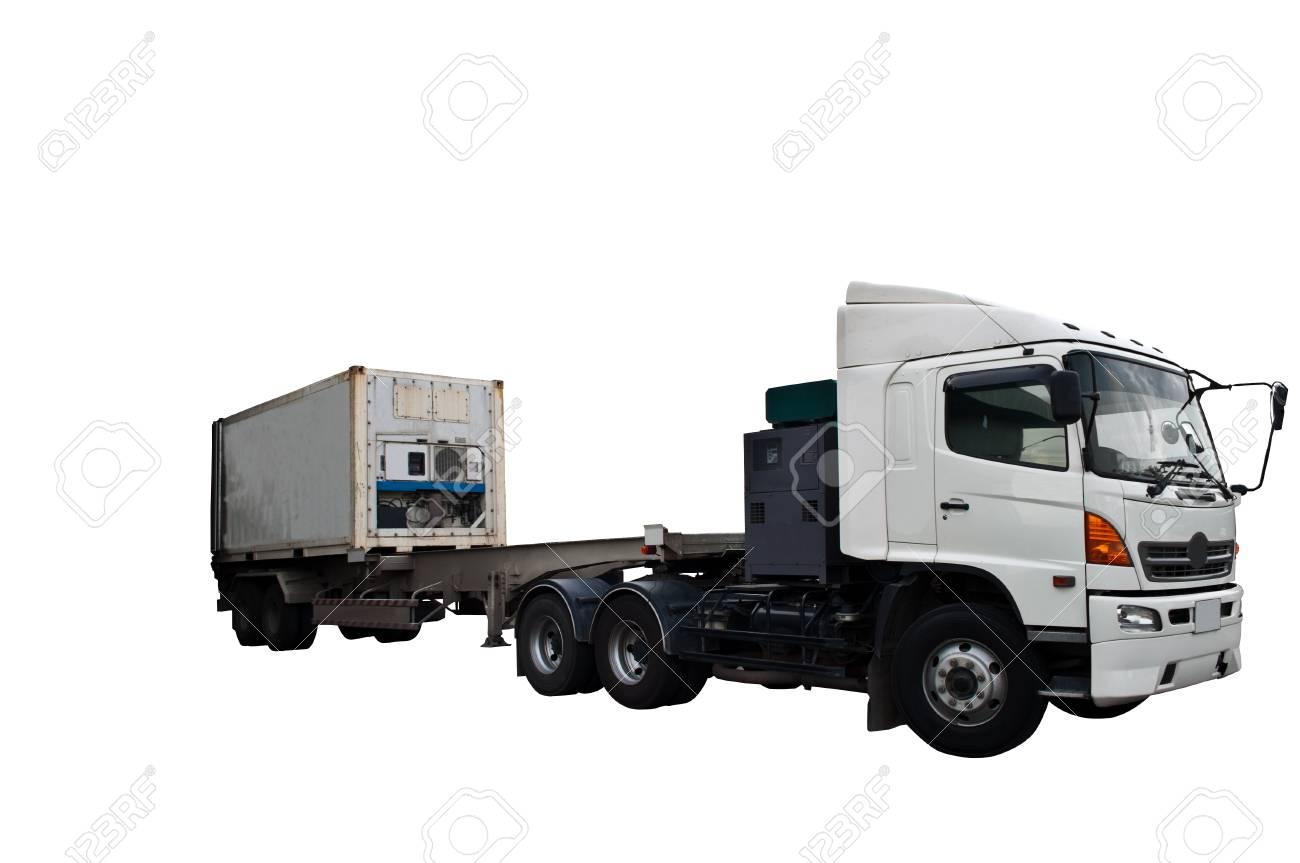 A white truck isolated in white background Stock Photo - 7511165