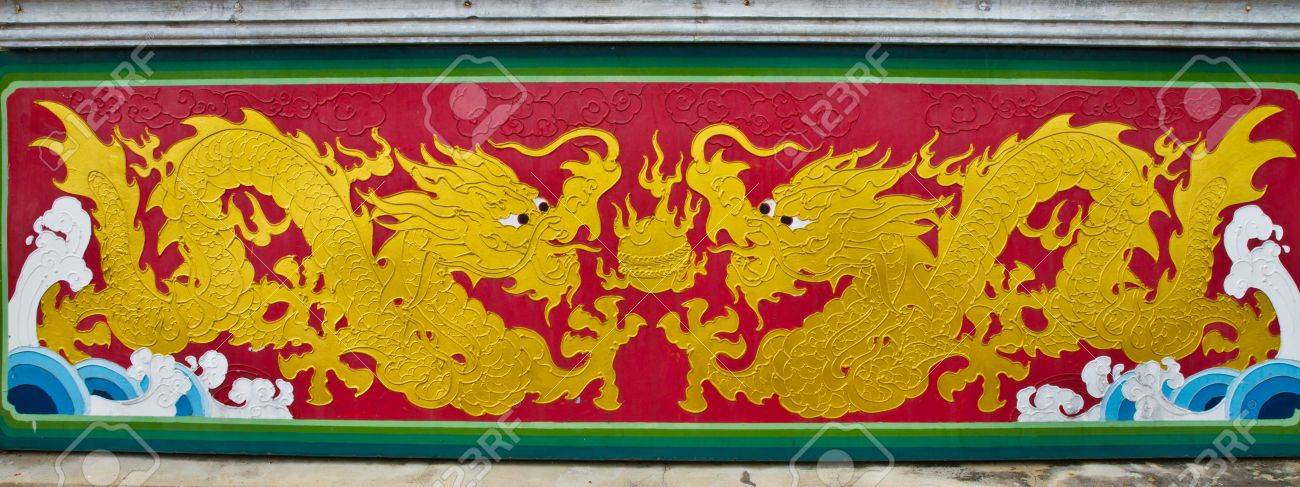 colorful chinese dragon at the wall of temple, Thailand Stock Photo - 10893407