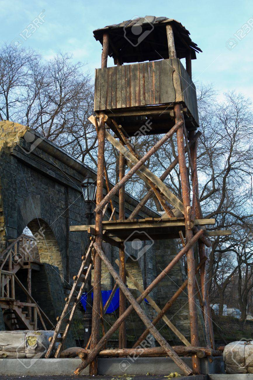 Lookout Tower Plans The Ruins Of An Old Building And An Observation Tower On The