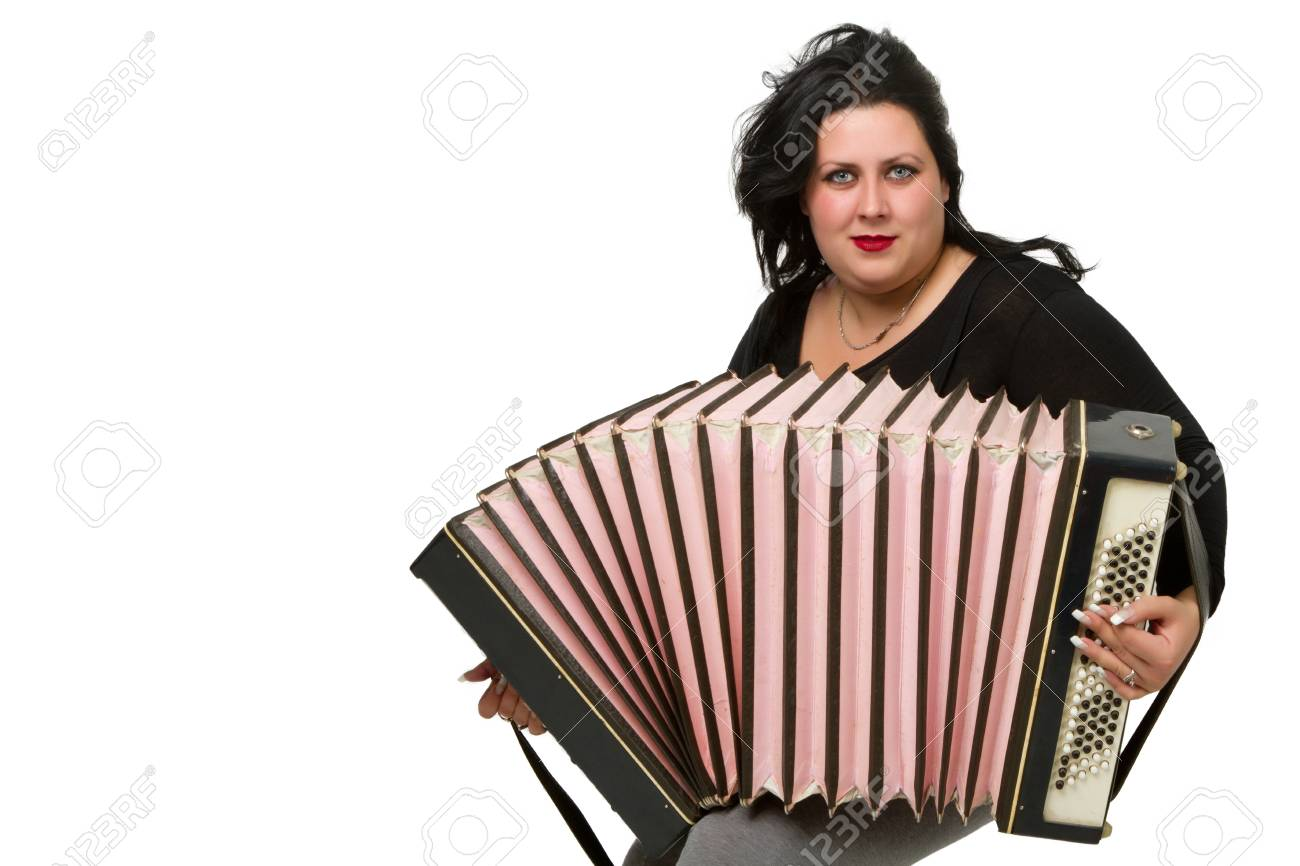 beautiful young brunette with accordion isolated on white background