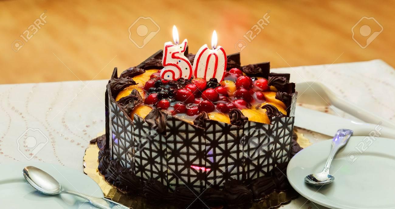 Cake Celebration Of The Anniversary 50 Years Restaurant Stock Photo