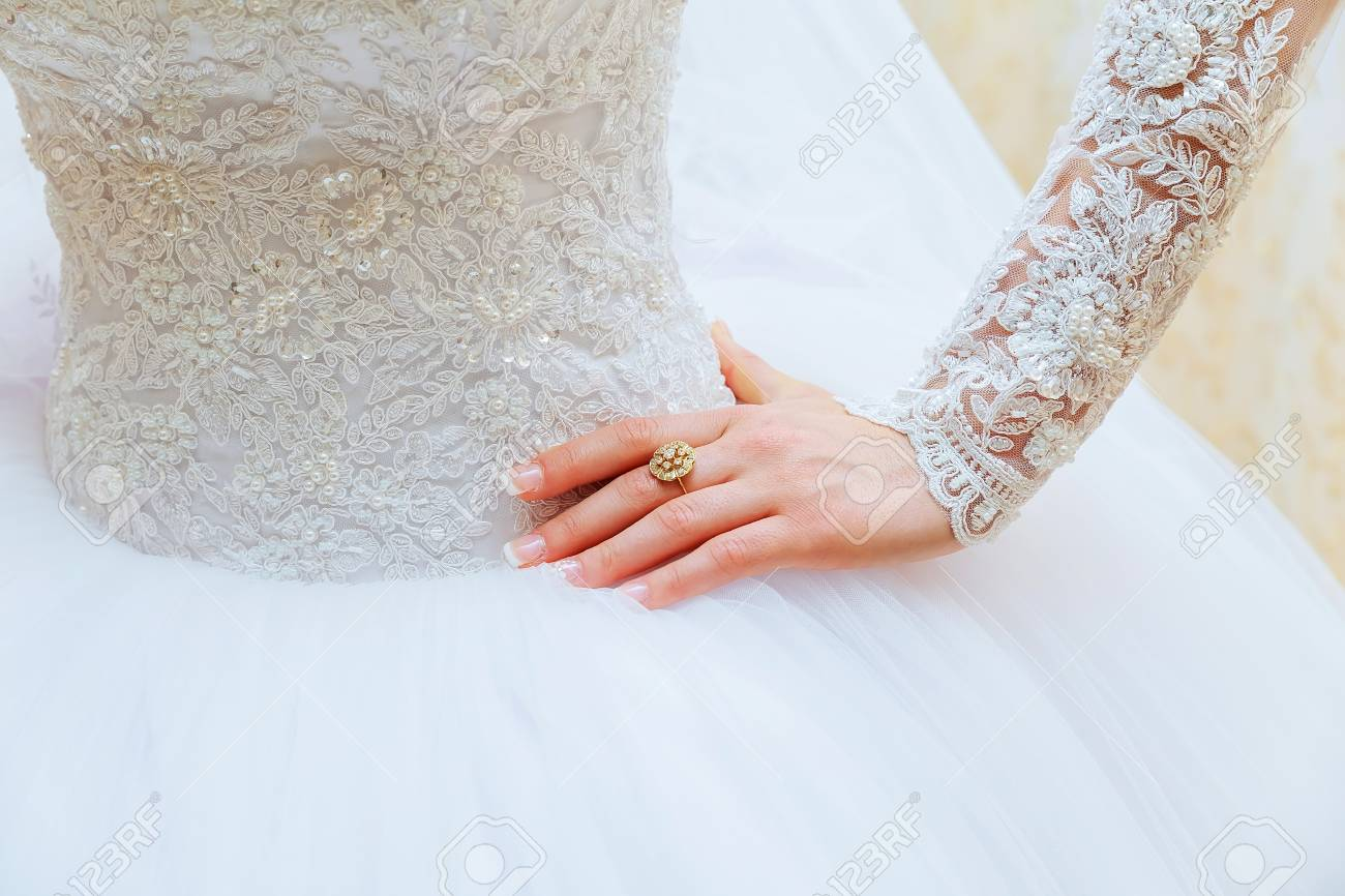 Lace White Wedding Dress With Long Sleeves Women S Hands Wedding