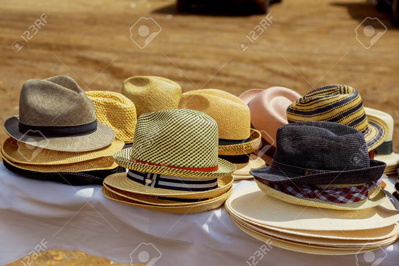 Stock Photo - Summer hats display sale in a street market. 650a54d898c