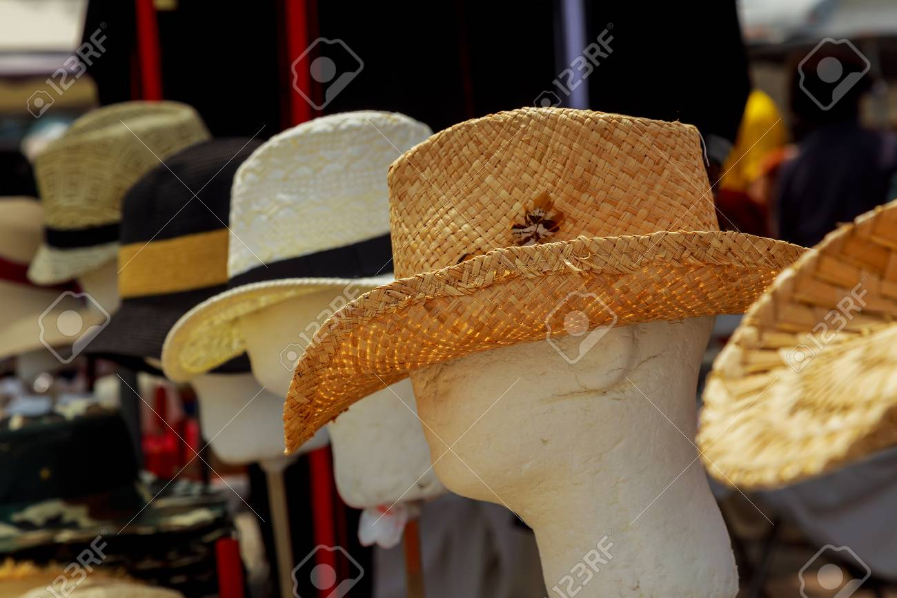 Stock Photo - Summer hats display sale in a street market. 9be1e5d49b54