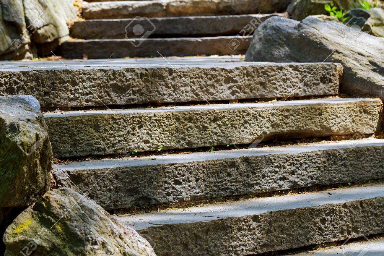 Beautiful Old Stone Stairs Natural Stone Steps In Summer Park Stock Photo    78156352