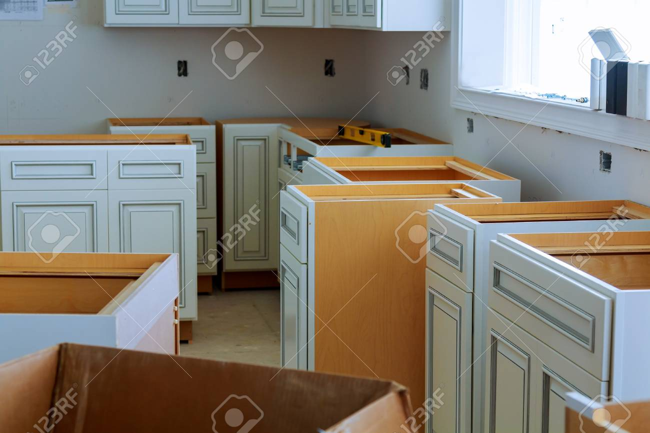 Installation of kitchen cabinets the drawer in cabinet. - 81568153