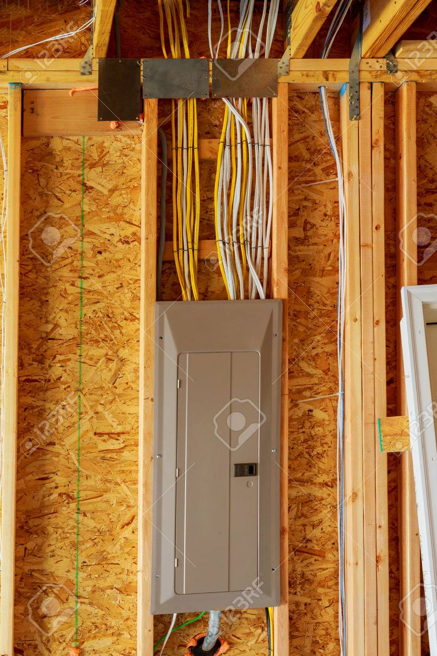 stock photo - the frame building or a house with basic electrical wiring