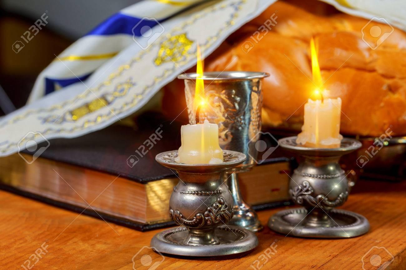 Shabbat Shalom - Traditional Jewish Sabbath ritual challah bread, wine - 82960504