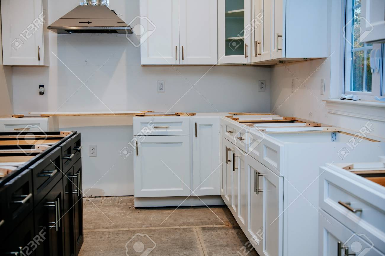 Interior Design Construction Of A Kitchen With Cooker Extractor Stock Photo Picture And Royalty Free Image Image 114445135
