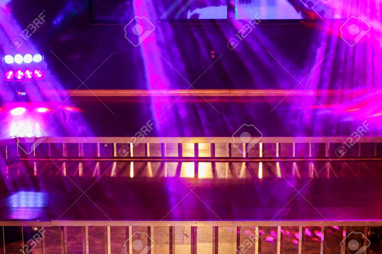 Colorful Light On An Empty Stage Pink Lights And Smoke In Club For Party Stock