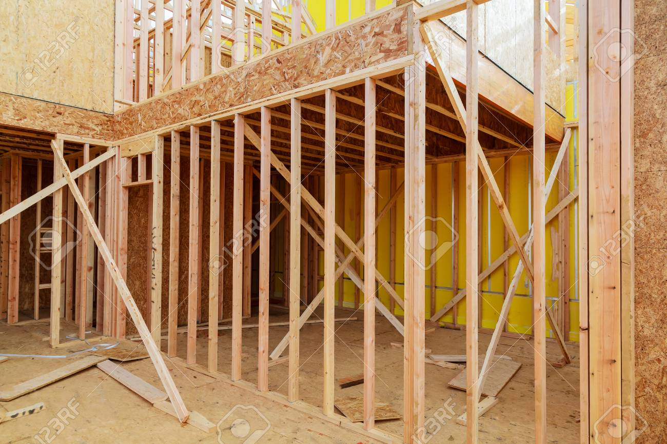 Wooden Beams At Construction Wooden Frame House Construction.. Stock ...