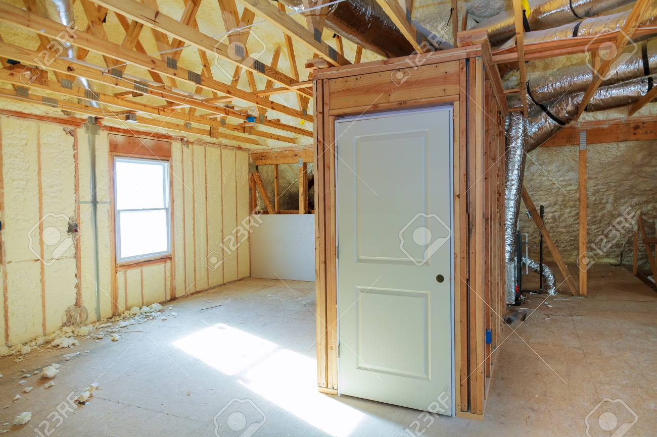 Delightful Thermal And Hidro Insulation Inside Wall Insulation Interior View  Construction New Residential Home. Stock Photo