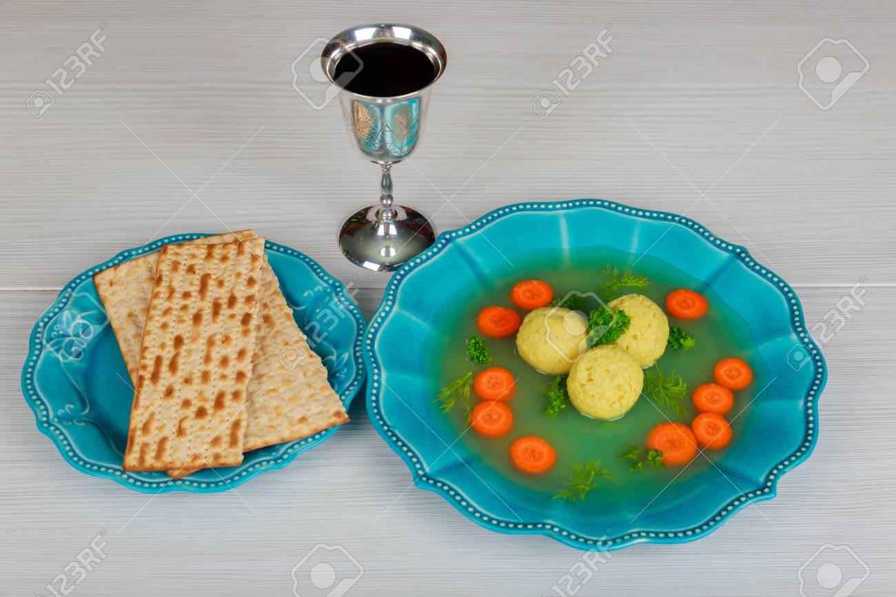 Delicious Matzoh Ball Soup With Matzah Jewish Symbols For The