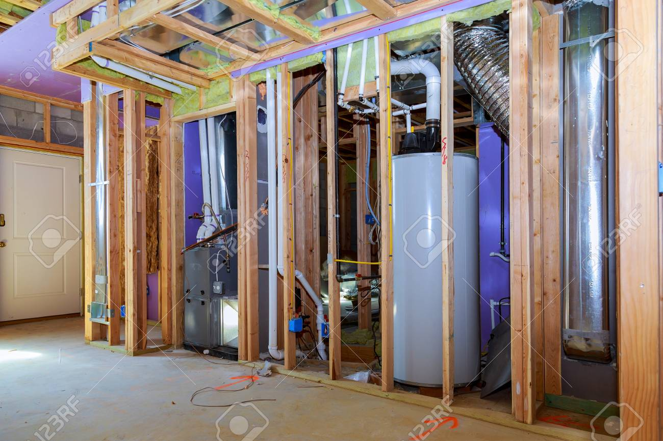 Interior Wall Framing With Piping And Wiring Installed Installation Building A New Of Pipes For Water Buildings