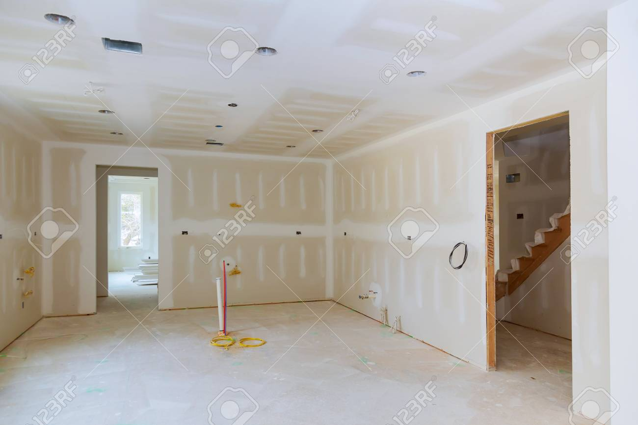Drywall is hung in kitchen remodeling project Interior of apartment..