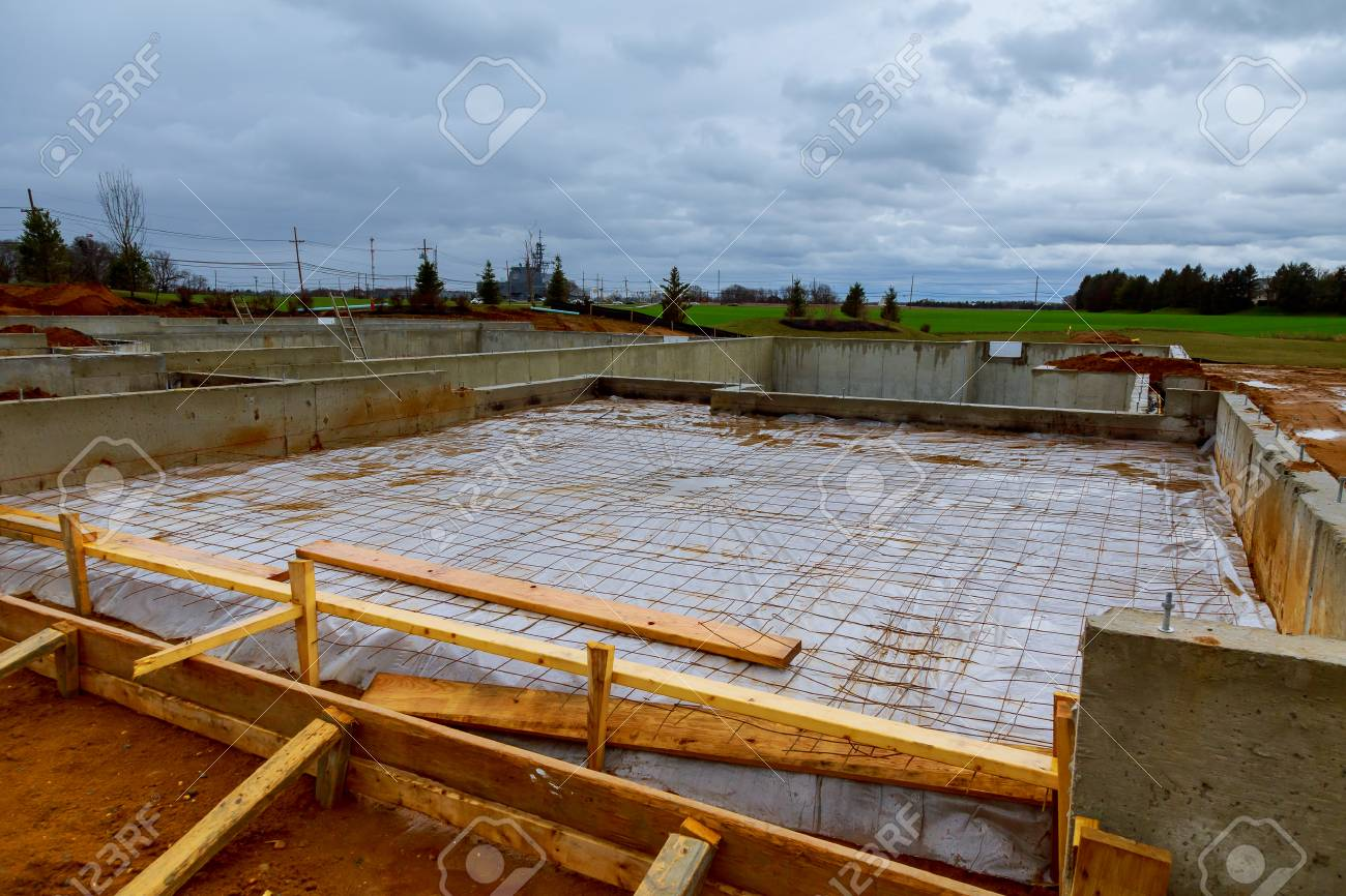 Foundations For Fame House. House Foundation Type. New Home Under  Construction Foundation Stock Photo