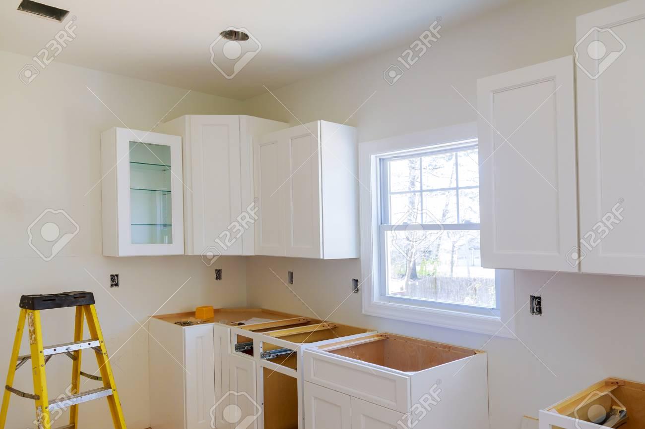 kitchen cabinets installation blind corner cabinet island drawers rh 123rf com kitchen cabinet installers nj kitchen cabinet installers las vegas