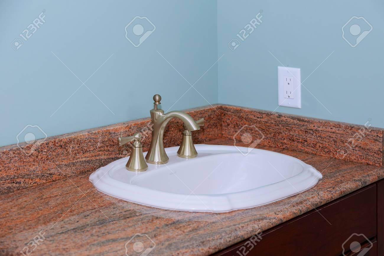 Modern Wash Basin Sink Counter Of Bathroom Interior Marble Counter New  Bathroom Stock Photo   103699110