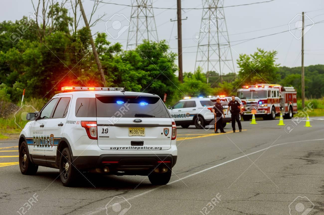 Sayreville NJ USA - Jujy 02, 2018: Police emergency service damaged