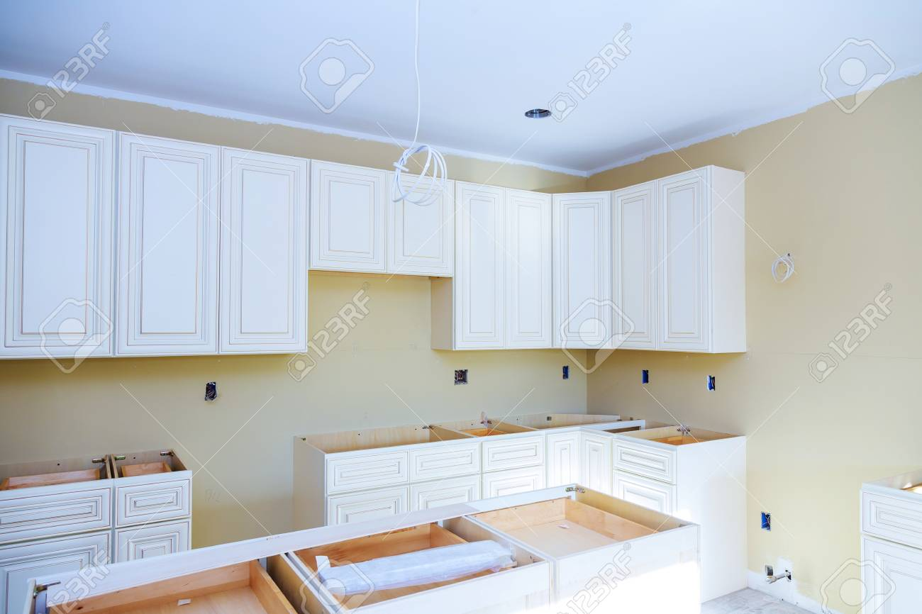 Kitchen Cabinets Installation Blind Corner Cabinet Island Drawers Stock Photo Picture And Royalty Free Image Image 104942929