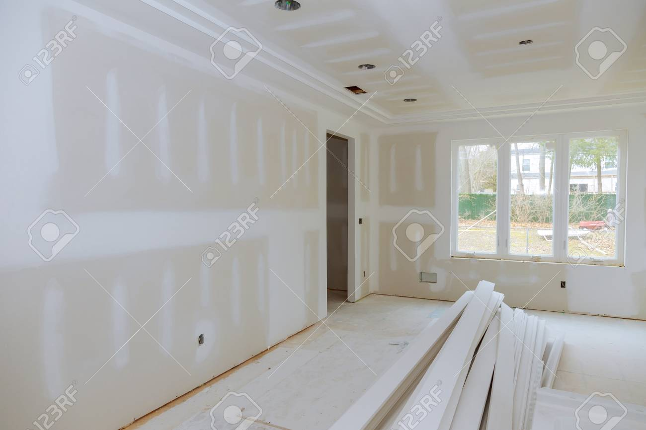 Construction building industry new home construction interior drywall and finish details Light white room and window - 113221613