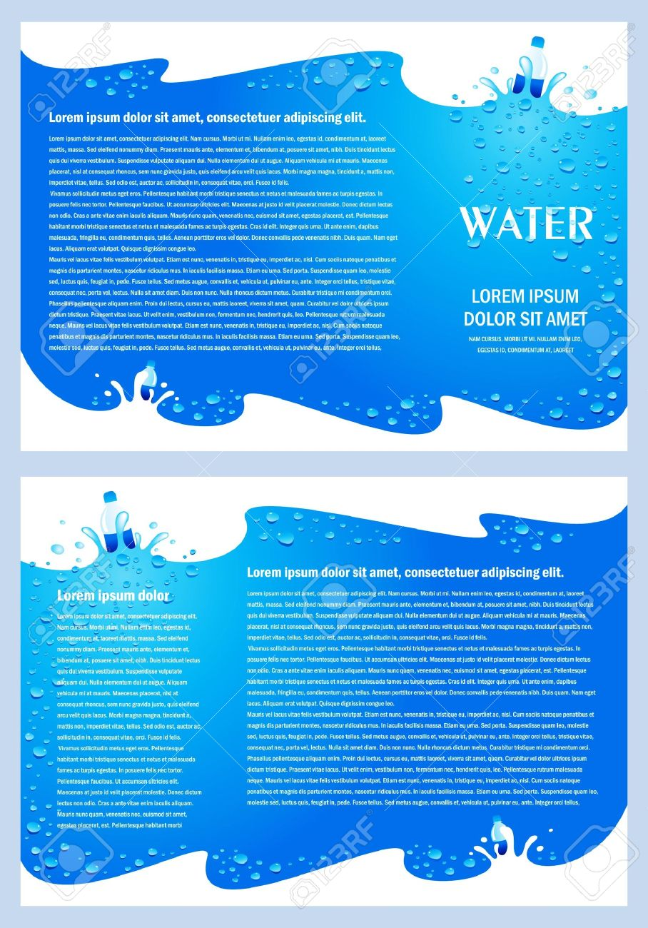 brochure folder water aqua splash bootle element design / cmyk, no transparent - 20752502