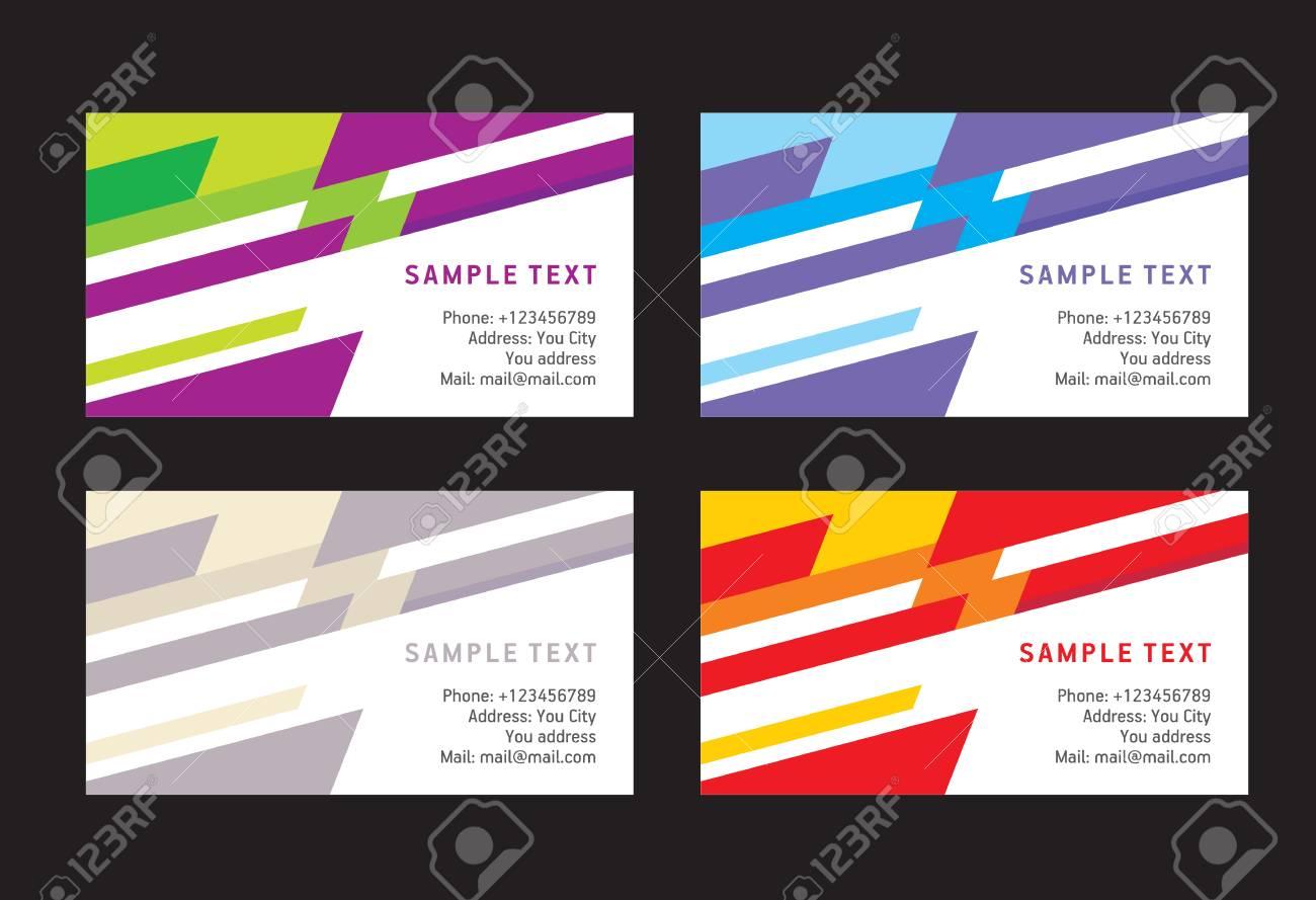 Abstraite Ligne De Carte Visite Creatif Template Vecteur Colore Banque Dimages
