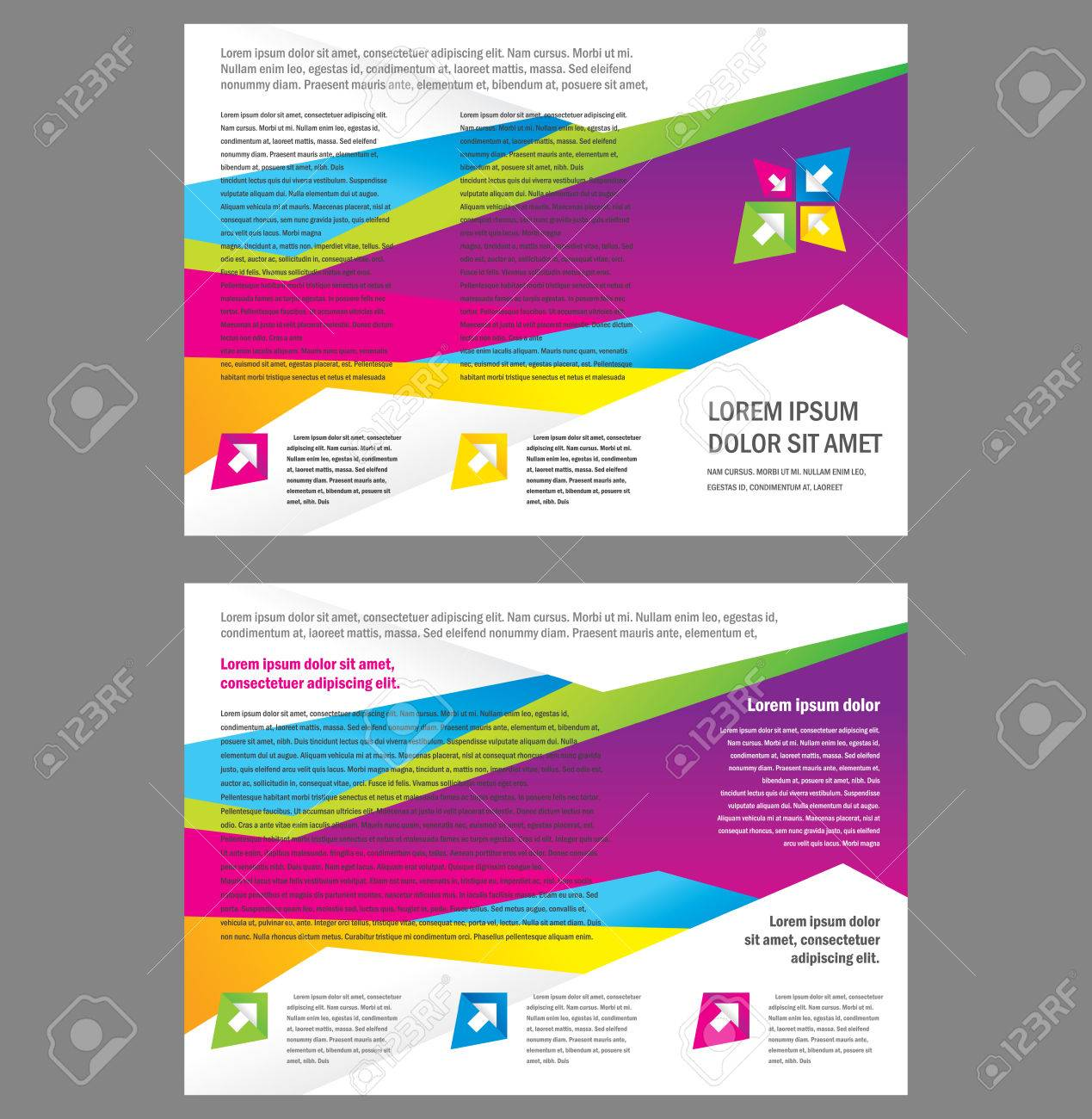 Brochure Tri-fold Layout Design Template triangles colorful Vector - 55381036