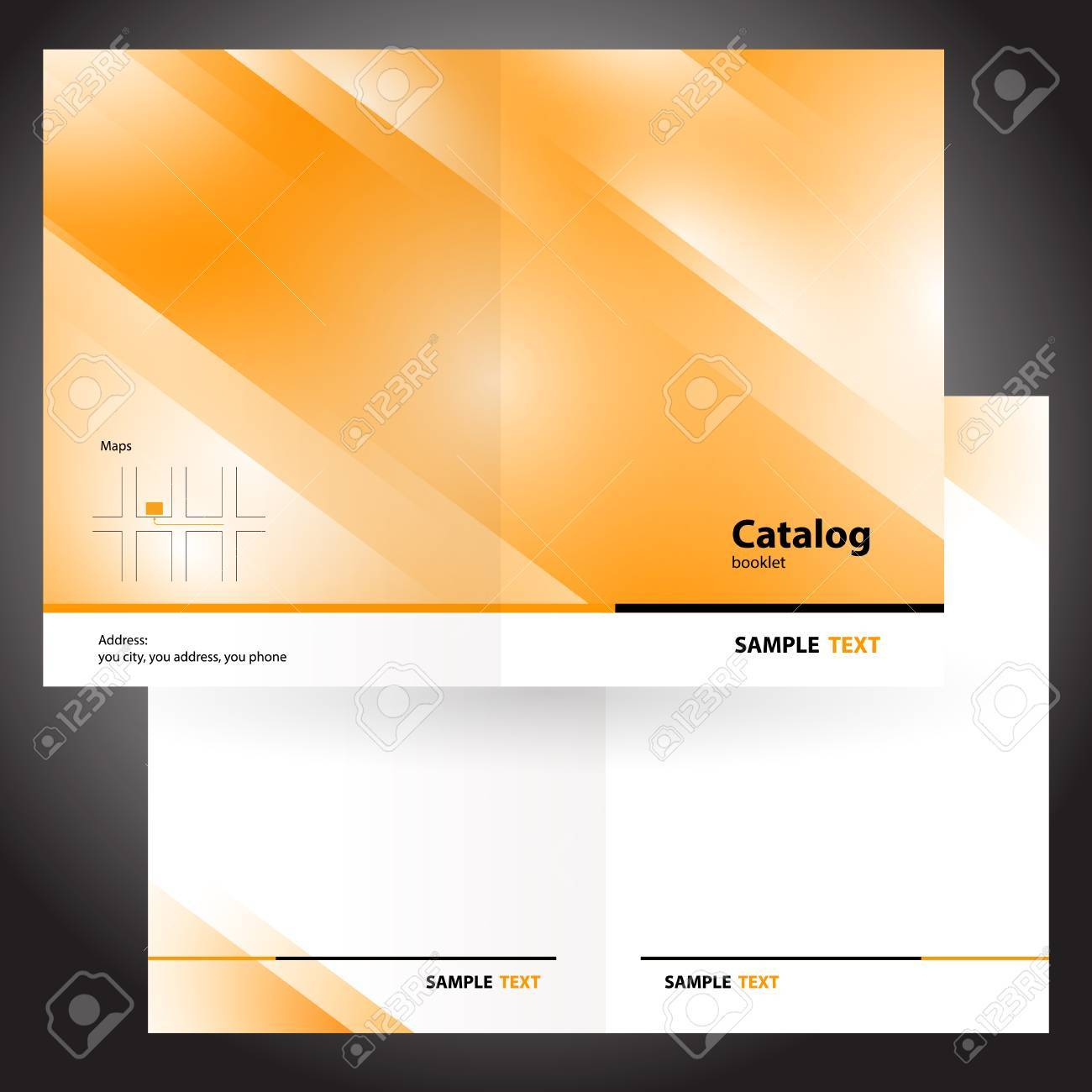 catalog booklet folder brochure colorful design vector orange - 55381047